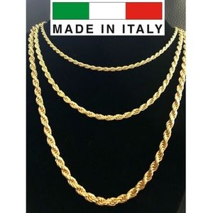 Harlembling 14k Gold 925 Silver Rope 3-5mm Chain